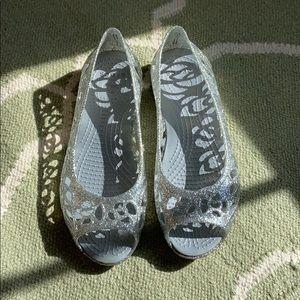 Crocs glitter open toe jellies
